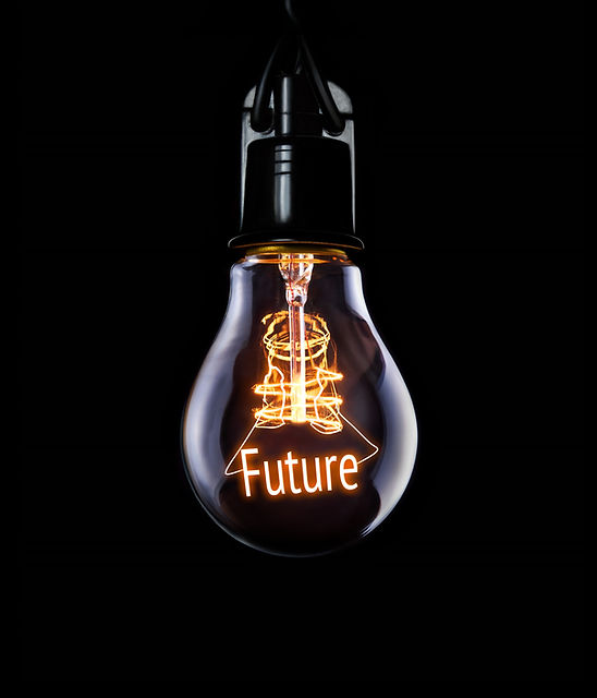 Hanging lightbulb with glowing Future concept.jpg