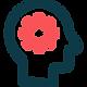 Head with gear wheel icon