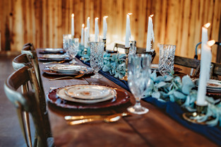 blue table runner with lambs ear