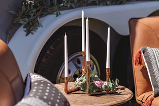 copper candle display