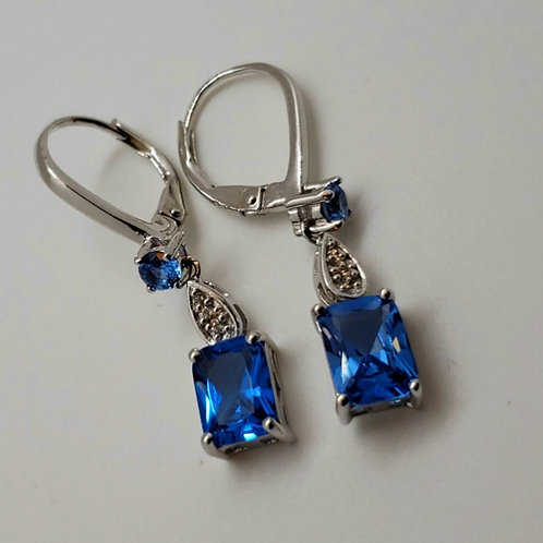 Rectangular and Round Blue Spinel with Zircon Silver Dangle Earrings