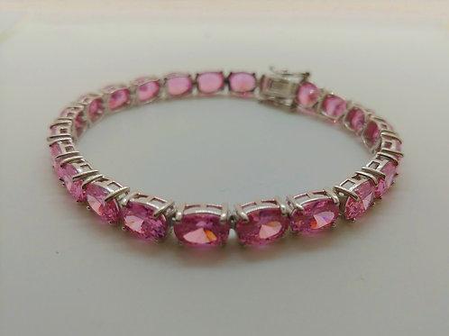 Pink Diamond Simulants Rhodium over Sterling Silver Bracelet