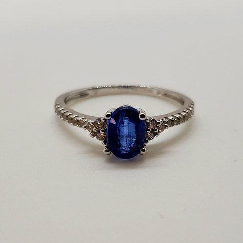 Oval Kyanite with Round White Zircon Sterling Silver Ring