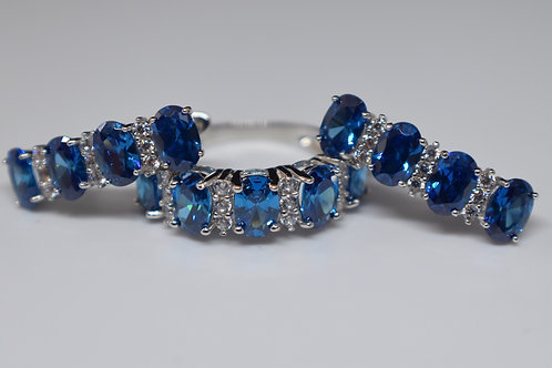 Blue Sapphire and Wht. Diamond Simulants Rhodium over Sterling Silver Set