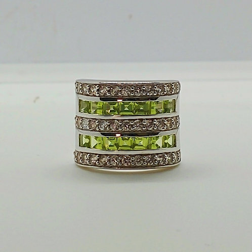 Square Peridot and White Zircon Sterling Silver Band Ring