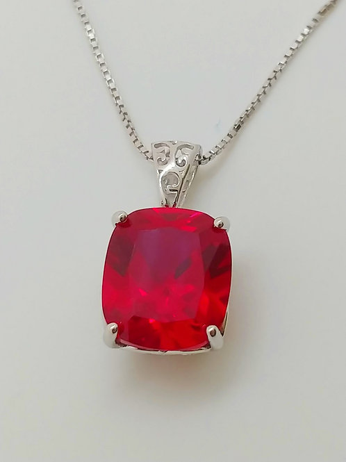 Rectangular Cushion Ruby Sterling Silver Pendant with Chain