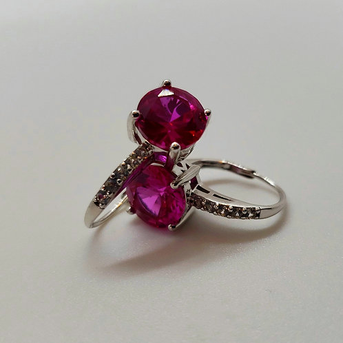 Pink Sapphire with White Sapphire Sterling Silver Earrings