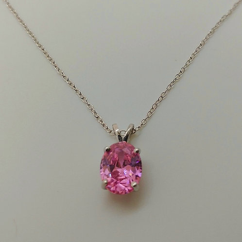 Rhodium over Sterling Silver Pink Diamond Simulant Pendant with Chain