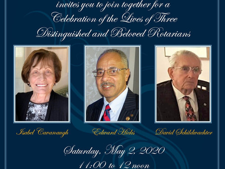 Memorial Service Saturday, May 2, 2020