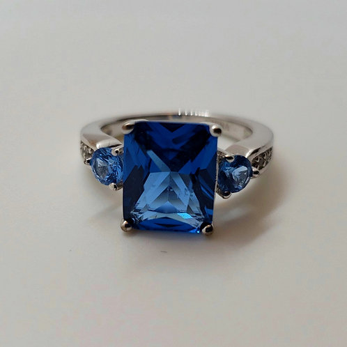 Blue Spinel with White Zircon Sterling Silver Ring