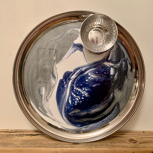Stainless Steel Tray With Glass Silver Bowl