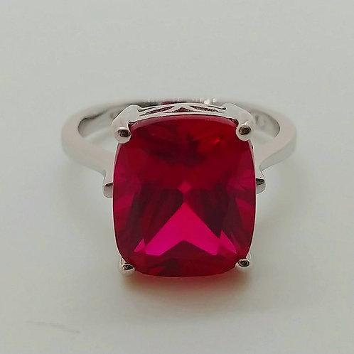 Rectangular Cushion Ruby Sterling Silver Ring