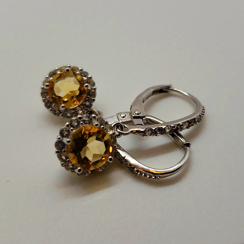 Round Citrine with Round White Topaz Sterling Silver Dangle Earrings