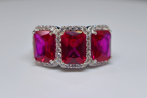 Ruby and White Diamond Simulants Rhodium Over Sterling Silver Ring