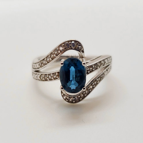 Oval Blue Kyanite with Round White Zircon Sterling Silver Ring