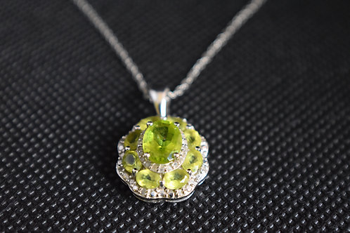 Oval Peridot with Round White Diamond Sterling Silver Pendant with Chain