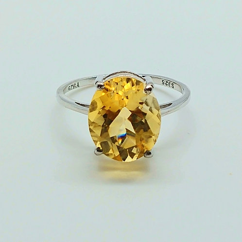 Oval Citrine Sterling Silver Solitaire Ring