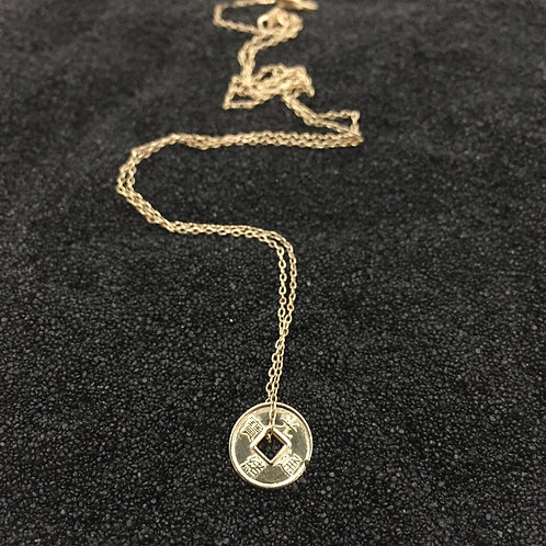 Iching 10 kart gold coin necklace