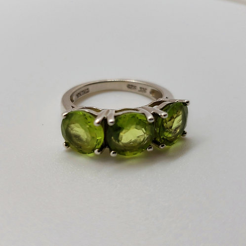 Round Peridot Sterling Silver3-Stone Ring