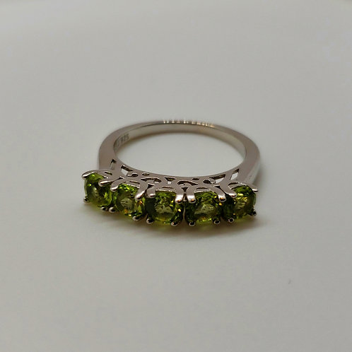 Round Peridot Sterling Silver 5-Stone Ring