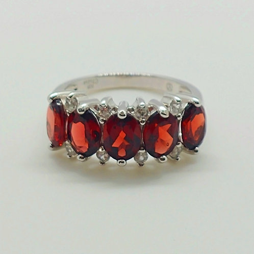 Oval Red Garnet with Round White Zircon Sterling Silver Ring