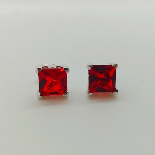 Ruby Solitaire Sterling Silver Earrings