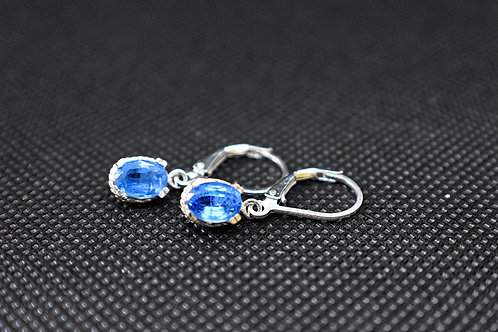 Oval Blue Kyanite Sterling Silver Dangle Earrings