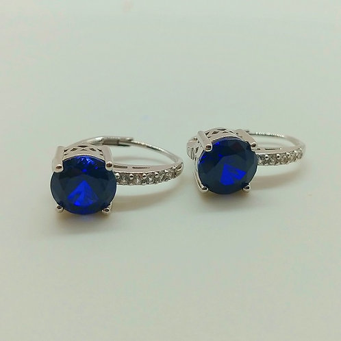 Blue Sapphire with Synthetic White Sapphire Silver Earrings