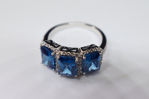 London Blue Topaz and White Diamond Simulants Ring