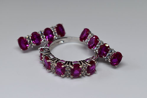 Ruby Simulants and White Diamond Over Sterling Silver Set