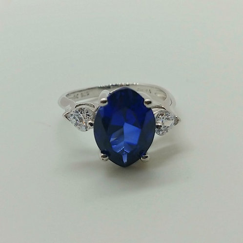Sapphire and White Diamond Simulant Rhodium over Sterling Silver Ring