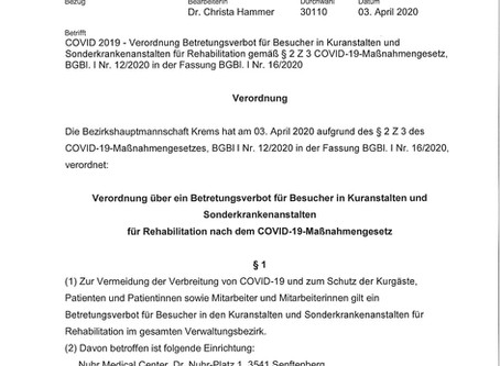 Verordnung Betretungsverbot für Besucher in Kuranstalten und Sonderkrankenanstalten für Rehabilitat
