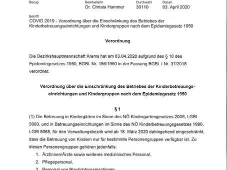 Verordnung über die Einschränkung des Betriebes der Kinderbetreuungseinrichtungen und Kindergruppen