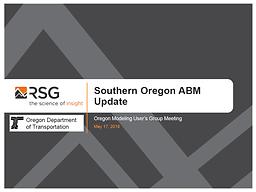 Southern Oregon Activity Based Model Update