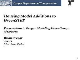 GreenSTEP Housing Model