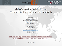 Idaho Statewide Freight Data and Commodity Supply Chain Analysis Study