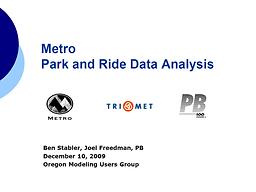 Metro Park and Ride Data Analysis