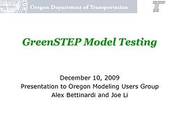 GreenSTEP Model Testing