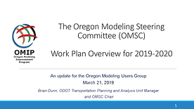 OMSC Work Plan Update for Calendar Years 2019-2020