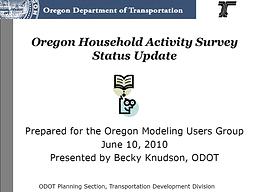 Oregon Household Activity Survey Status Update