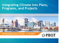 Integrating Climate Into Plans, Programs and Projects