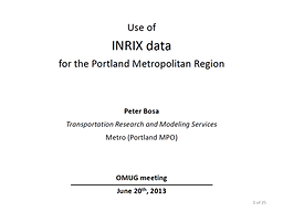 Use of INRIX Data