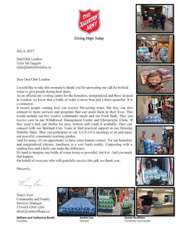 Thank you letter from the Salvation Army.