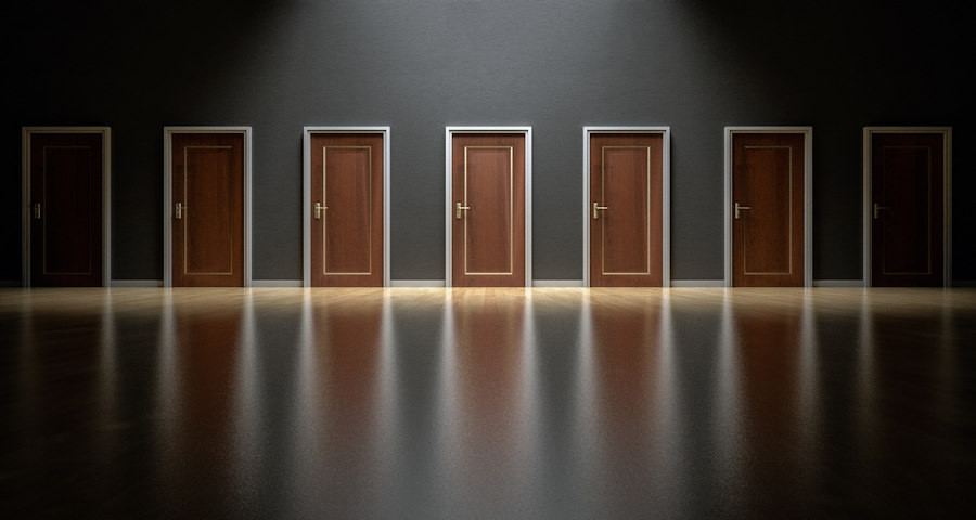 Many doors indicating choice