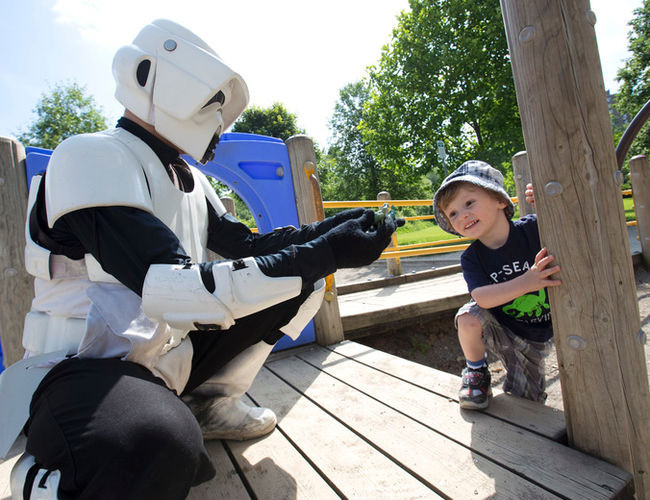 Stormtrooper with Child at London Park
