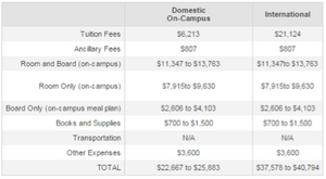 Screenshot of university costs.