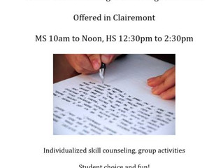 MS and HS English Classes - Clairemont, CA (no website, need to contact to verify information)