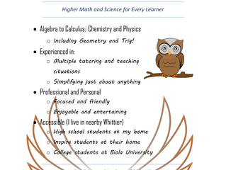 HS/College Math and Science Tutoring - Whittier Area, CA (no website, contact to verify info)