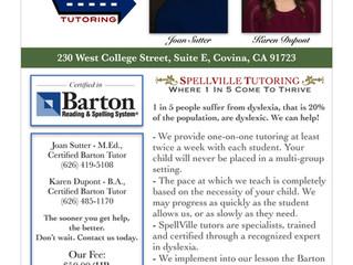 Certified in Barton Reading & Spelling Tutors - Covina
