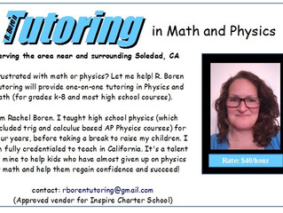 Math and Physics Tutoring - Soledad, CA (no website, need to contact to verify information)